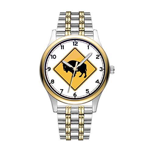Personalisierte Minimalistische Buffalos Roaming, Traffic Warning Sign, Utah, USA Uhren Goldene Fashion wasserdichte Sportuhr