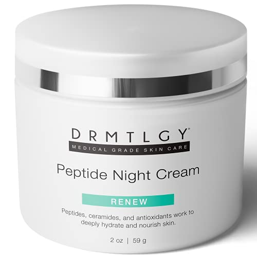 DRMTLGY Peptide Night Cream Face Moisturizer. Fragrance Free and Oil Free Hydrating Facial Moisturizer for All Skin Types.