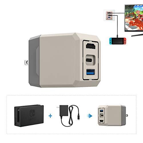 Switch ドック ATiC Switch ACアダプター 3in1 AC充電器 HDMI/Type-C/USB 3.0 1920*1080@60fpsサポート TVモード対応 テレビ出力 ジョイコン/プロコン接続 多機能 過電流保護 放熱保護 コンパクト Gray