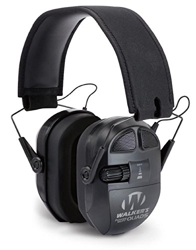 GSM Outdoors GWP-XPMQB Walkers Game Ear Ultimate Power Muff Quads with Adjustable Frequency Tuning/Electric, Black