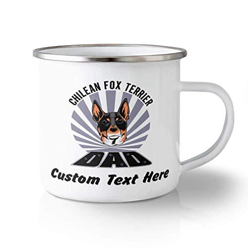 N\A Taza de Viaje irrompible Personalizada 11 onzas papá Perro Fox Terrier chileno Taza de té de Aluminio Texto Personalizado aquí