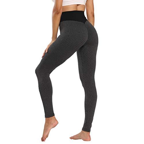 CMTOP Pantaloni da Yoga Leggings Donna Sportivi Anticellulite Pantaloni Nido d'Ape 3D Leggings Compressione Push up Vita Alta Yoga Pants Sportivi Modello di Griglia Tights Running Leggings