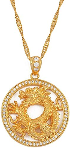 WSBDZYR Co.,ltd Necklace Fashion Round Dragon Pendant Necklace Necklaces for Women and Girls Gold Color Jewelry Cubic Zirconia Ornaments Lucky Symbol