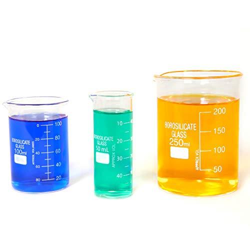 Sciencent - Vaso de Cristal de Borosilicato de Forma Baja, vaso de precipitado, 50/100/250 (3 unidades)