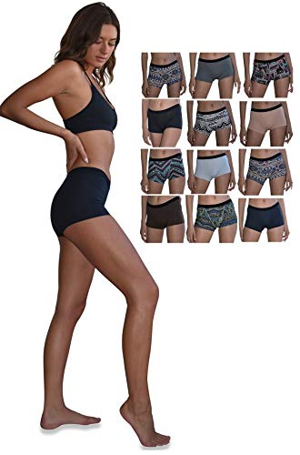 Sexy Basics Women's 12 Pack Modern Active Buttery Soft Boy Short Boxer Brief Panties (12 Pack-CORE Solids 7 Tribal Prints, Large)