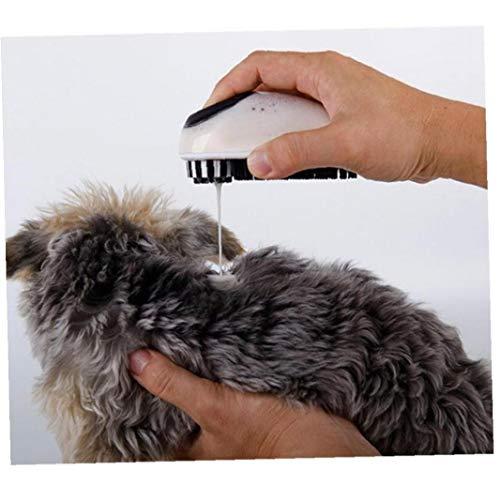 AYRSJCL Mascotas baño de la preparación del Cepillo de Corta y Pelo Largo del Perro de Goma Suave cerdas jabón y champú dispensador Mascotas Masaje del baño del Cepillo Gris