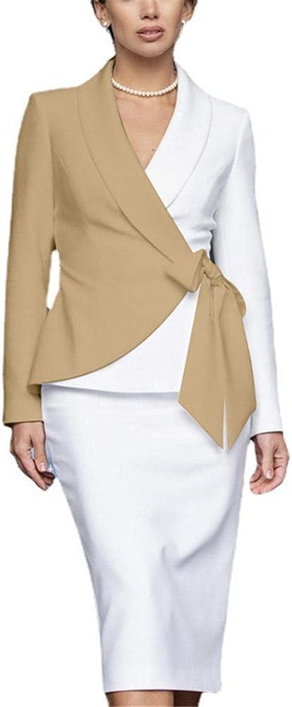 Office Blazer Dress for Women Turn Down Neck OL Work Long Sleeve Color Contrast Bodycon Formal Dress-Khaki_M