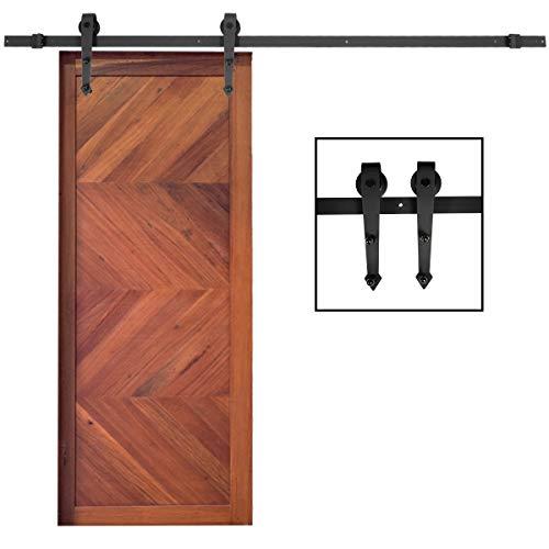 DREAMADE Schiebetürbeschlag Schiebetürsystem für Schiebetüren, Schiebtür Beschlag Set aus Stahl, Laufschiene für bis zum 90cm Türbreite, mit Zubehöre, Schwarz