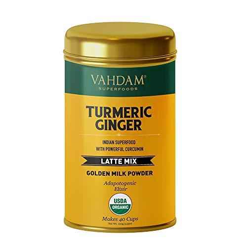VAHDAM, Bio Curcuma + Latte Au Gingembre. 40 tasses (100g) | Poudre De Lait Doré Avec Curcumine Puissante | Curcuma En Poudre + Gingembre | Curcuma Latte | Thé Au Curcuma | Brew Hot ou glacé