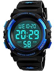子供腕時計 男の子 デジタル腕時計 ボーイズスポーツウォッチ アウトドア多機能50m防水 アラート 日付曜日表示 デュアルタイム LED アナログ表示