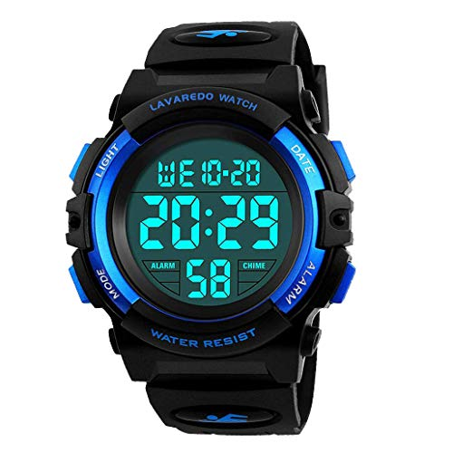 Digital Uhren für Kinder Jungen - 50 M Wasserdicht Sports Outdoor Digitaluhr Kinder Silikon Armbanduhr mit Wecker/Stoppuhr/LED-Licht/Stoßfest/Datum,Elektronische Kinderuhren Blau
