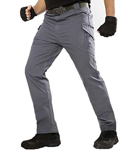 TACT BESUHerren Cargohose Outdoor Militär Tactical Hose Männer Stretch Arbeitshose mit Multi Taschen Grau 34
