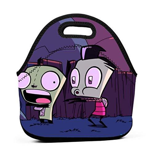 Women Lightweight Invader Zim Lunch Box Reusable Tote Bag Funny Lunch Bag Anime Handbag For Picnic/Work