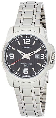 Casio Women's LTP1314D-1AV Silver Stainless-Steel Quartz Watch with Black Dial