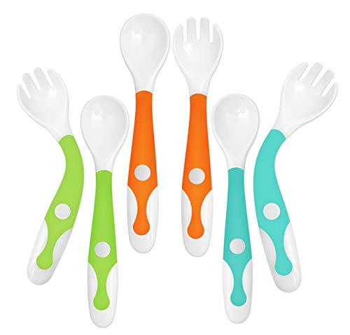 YIVEKO Baby Training Spoon Fork Set with Travel Case, Toddler Feeding Utensils Set Children Tableware Travel Set BPA Free Self-Feeding Learning Spoons Forks for Kids