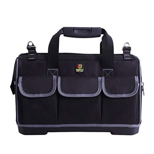 YJS Tool Bag Draagbare Elektricien Multifunctionele Reparatie Installatie Gereedschap pocket tool Tote Werk Pocket Pack,15-inch, 15-inch, Zwart