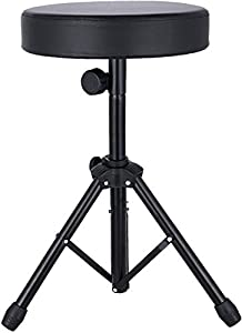 Drum Thrones Adjustable Padded Drum Stool with Anti-Slip Feet for Adults and Kids (black)