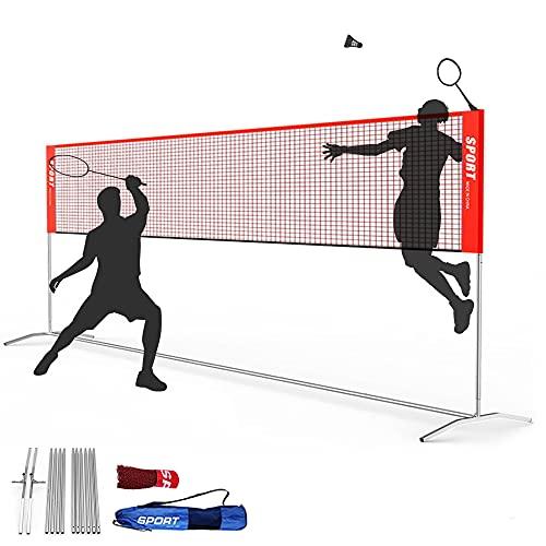 TIKALON バドミントン用ネット 練習用 折りたたみ バドミントンネット 簡単組み立て コンパクト ポータブル ボール ネット 持ち 高さ調節可能バドミントン用ネット(収納バッグ付き) (レッド (高さを調節しません