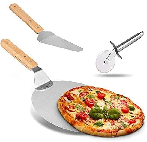 Weeygo, 3 Attrezzi per Pizza e da Forno, taglierino, Pala e palino in Acciaio Inossidabile, con Manico in Legno, per cuocere Pizza e Torte su Forno e Grill, Colore: Argento