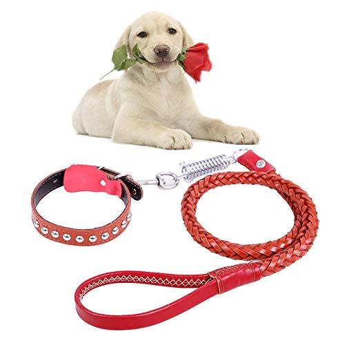 Tuzi Qiuge Haustier-Leine-Hundehalsband Und Leine Set Teleskop Hund Seil Kuhfell Zugkraftgurt Geeignet for Mittlere Und Große Hunde (Color : Brown)