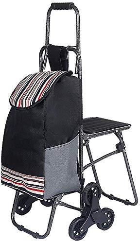Einkaufswagen-Lebensmittelgeschäft faltbare Trolley Treppensteigen Supermarkt Handcart 6-Rad-Servierwagen Reise Versorgungen Mit Sitz, schwarz