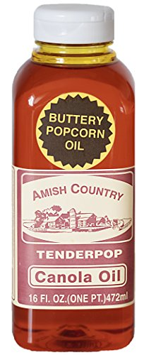 Amish Country Popcorn | Butter Flavored Canola Oil - 16 oz | Old Fashioned with Recipe Guide (16 oz Jar)
