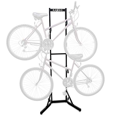 RaxGo Bike Storage Rack, 2 Bicycle Garage Floor Stand, Adjustable, Freestanding, Adjustable Hooks, for Mountain & Road Bicycles, Universal for Indoor Use
