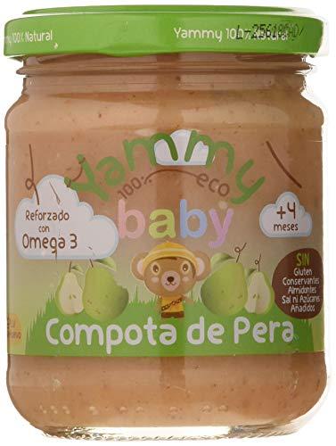 Yammy, Potito ecológico Compota de Pera reforzado con Omega 3, a partir de 4 meses - 12 de 195 gr. (Total 2340 gr.)