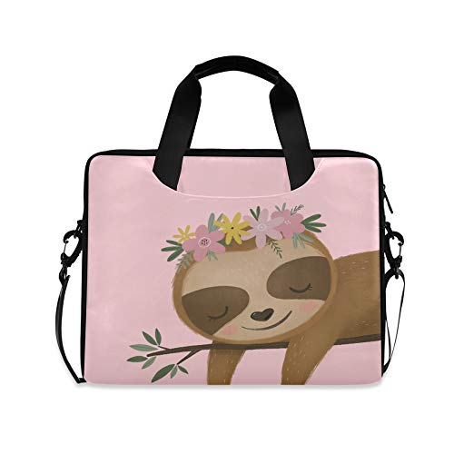 Laptop Bag, Cute Sloth Flower Pink Computer Sleeve Case Laptop Handbags Briefcase with Strap and Handle for Boys Girls Women Men 14 15 15.6 Inch