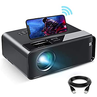 """Mini Projector for iPhone, ELEPHAS 2020 WiFi Movie Projector with Synchronize Smartphone Screen, 1080P HD Portable Projector with 4600 Lux and 200"""" Screen, Compatible with Android/iOS/HDMI/USB/SD/VGA"""