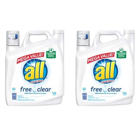 all Stainlifters Free Clear Liquid Laundry Detergent Mega Value, 184.5 Oz, 123 Loads, Pack of 2