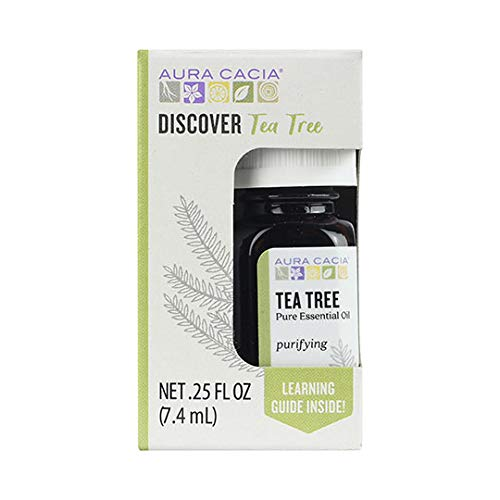 Aura Cacia Discover 100% Pure Tea Tree Essential Oil | GC/MS Tested for Purity | 7.4 ml (0.25 fl. oz.) in Box with Uses Insert | Melaleuca alternifolia