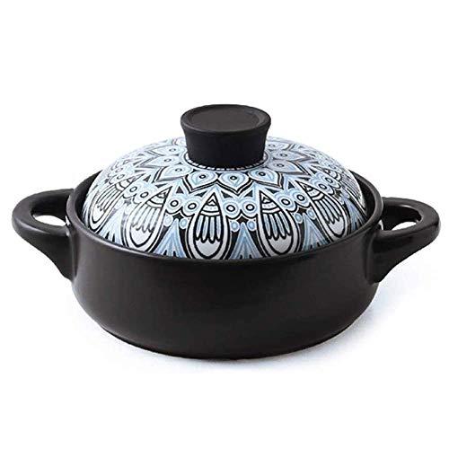 Pillowcase 123 Olla para cazuela de Barro Olla para estofado de Terracota Cazuela de cerámica Olla para cocinar de Arcilla - con Asas Dobles y Tapa para cocinar hilvanado o horneado - Capacidad 2.5L