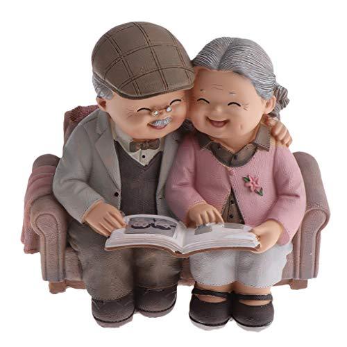 F Fityle Süße älteres Liebpaar Gartenfigur Dekofigur für Weihnachten/Geburtstag, täuschend Süß - Das Foto betrachten
