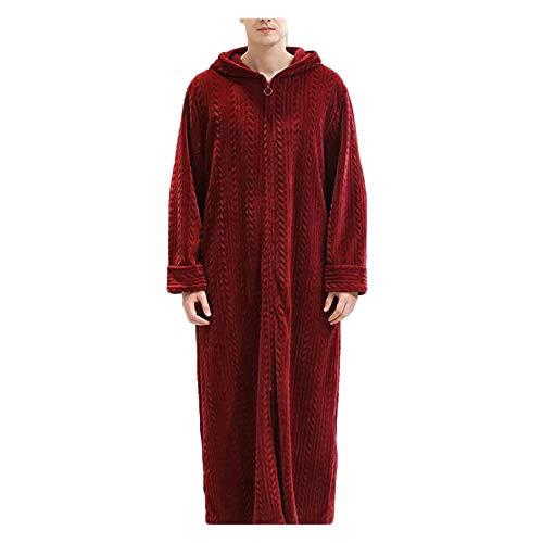 Grossartig Heren Herenherfst en Winter Rits Badjas met capuchon Nachtjapon Verdikking Pyjama Flannel Nachtkleed.
