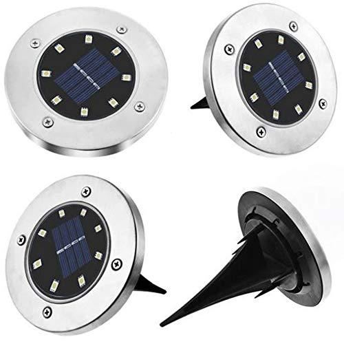 Luminaria Solar Grama Energia 8 Led Gramado chão espeto Sitio Fazenda 8 unids