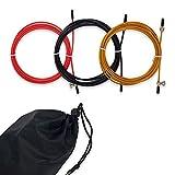 YAMAT - Set Cables de Cuerda para Saltar de Repuesto - Combas de Fitness, Crossfit, Boxeo - Pack de 3 Piezas de Acero y PVC con Bolsa de Transporte de Regalo