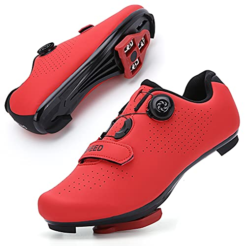 GENAI Men Road Bike Shoes Women Cycling Shoes Included Cleats(Combination Set) Compatible with Look SPD/SPD-SL for Outdoor/Indoor Cycling Exercise Shoes Red