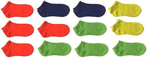 12 paia calze calzini corti bimbo bambino cotone colorati fluo - modello estivo fantasmino (altezza caviglia) (22-26)