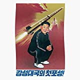valungtung Korea Retro Jong Tracksuit Un Rocket Pyongyang Kim Propaganda Soviet North Print Modern Typographic Poster Girl Boss Office Decor Motivational Poster Dorm Room Wall