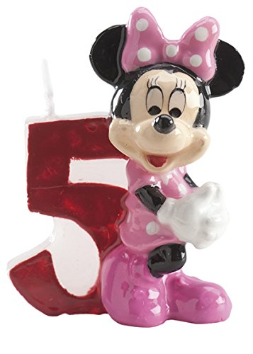 Dekora Vela nº 5 con Diseno Minnie, 6,5 cm, Cera, Multicolor, 6.5