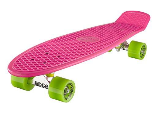 Ridge Skateboard 69 cm 27 Zoll Nickel Cruiser Retro Stil M Rollen Komplett Fertig Montiert, Unisex, Rosa/Verde, 69cm