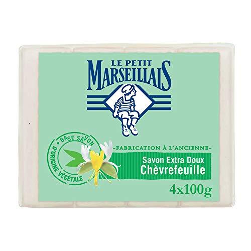 Le Petit Marseillais Savon Solide Chèvrefeuille - Action Antibactérienne - 4x100g