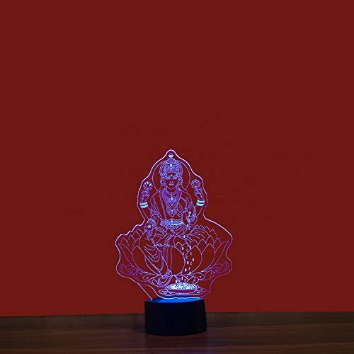 Estatua de Buda de cuatro manos Luz de noche 3D colorida Interfaz USB Luz visual creativa Luz de arte táctil-12 colores táctiles
