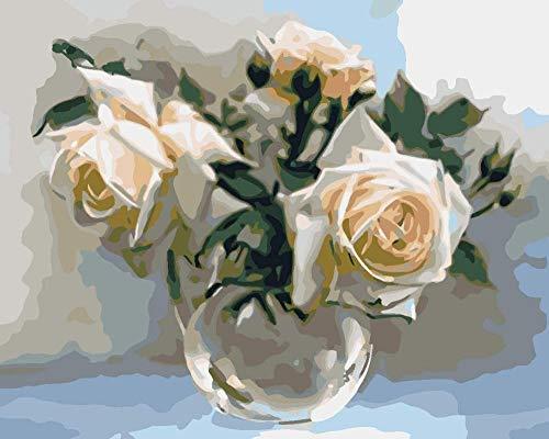 Schilderset met kwasten en acryl pigment doe-het-zelf canvas schilderij voor volwassenen beginners boekset van witte rozen in glazen vaas - (40 x 50 cm) zonder frame.
