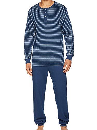 Seidensticker Herren Anzug Lang Zweiteiliger Schlafanzug, Blau (Dunkelblau 803), X-Large (Herstellergröße: 54)