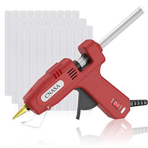Pistola per Colla a Caldo, CNASA 100W Bastonici Stick Colla 30pz Riscaldo Rapido per Progetti Artigianali Industriale DIY Imballaggio Casa Riparazioni Uso Domestico (Nero) (rosso)