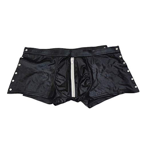 Healifty Calzoncillos Boxer de Cuero para Hombre Pantalones Ajustados Bikini bañador Pantalones Cortos con Cremallera