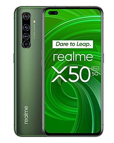 Realme X50 Pro Smartphone 6,44 5G, 8 Go de RAM + 128 Go de ROM, Processeur OctaCore Qualcomm Snapdragon 865, Caméra Quad AI 64MP, MicroSD, Vert Mousse