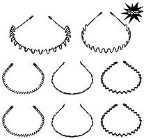 8 stuks lente golf hoofdband haar hoepel voor mannen en vrouwen, unisex metalen golvende kam haarband accessoires (zwart)